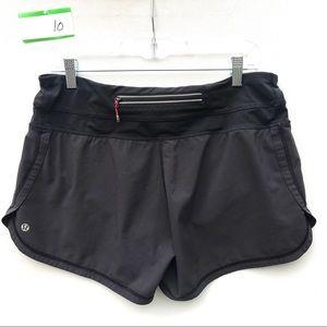 lululemon black speed shorts 10 block it pocket